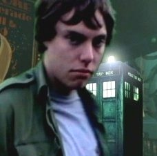 Luke Sutton as Captain Lewis and his TARDIS