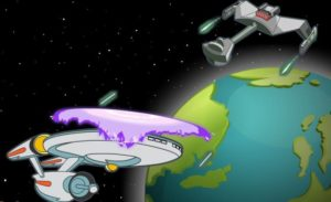 "The Enterprise must battle a Klingon Battle Cruiser when its commander seeks ""Vengeance"