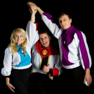 Gabrielle Van Buren (who plays Doctor Rena),  Adam Rini (Captain Sunstrike) and Logan Blackwell (Commander Powell) celebrate the completion of Voyage Trekkers' first season