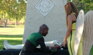 Green Lantern John Stewart mourns the loss of Vixen while Hawkgirl tries to comfort him