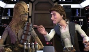 Chewie and Han have to work together to fight off Tie Fighters from the Empire