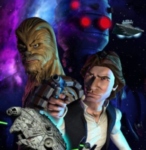 A simple cargo run pits Han Solo and Chewbacca against a surly droid and Imperial fighters