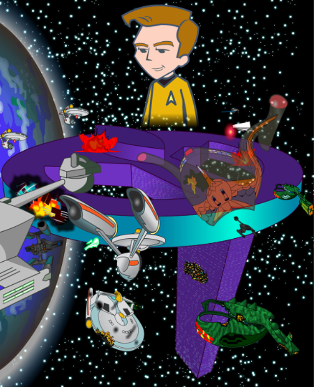 As you might expect, Captain Kirk and the crew of the Enterprise are caught in the middle of a cosmic war