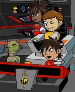 """The crew of the """"Mirror"""" Enterprise includes Uhura, Kirk, """"Chekov"""" and Sulu"""