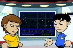 Captain Kirk and Mister Spock plan their next move in the battle with their Mirror Universe counterparts