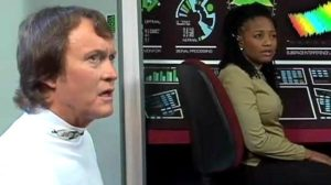 """Captain Gregory and Communications Officer Mtume are baffled by the mysterious alien in """"Delivery"""