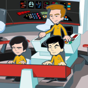 Captain Kirk, Ensign Chekov and Lieutenant Sulu prepare to take on a Borg cube
