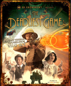 Lord Broadforce, Millicent Middlesworth and Caruthers run into danger during the steampunk film, Dr